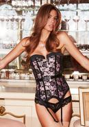 Satin And Lace Corset Pnk/blk M