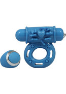 Macho Pulsating Remote Control Cockring Waterproof Blue