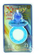 Ring Of Xtasy Bear Series Vibrating Silicone Cock Ring Blue