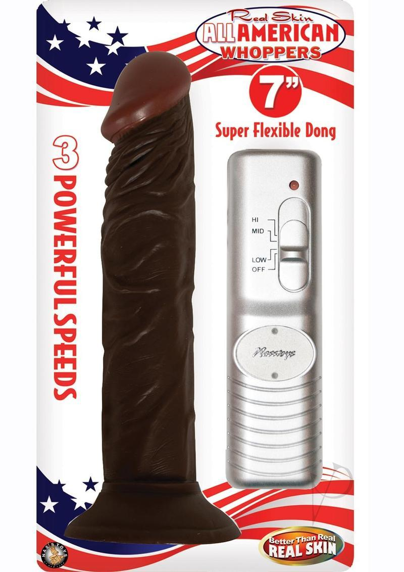 Real Skin Afro American Whoppers Vibrating Dong 7 Inch Brown