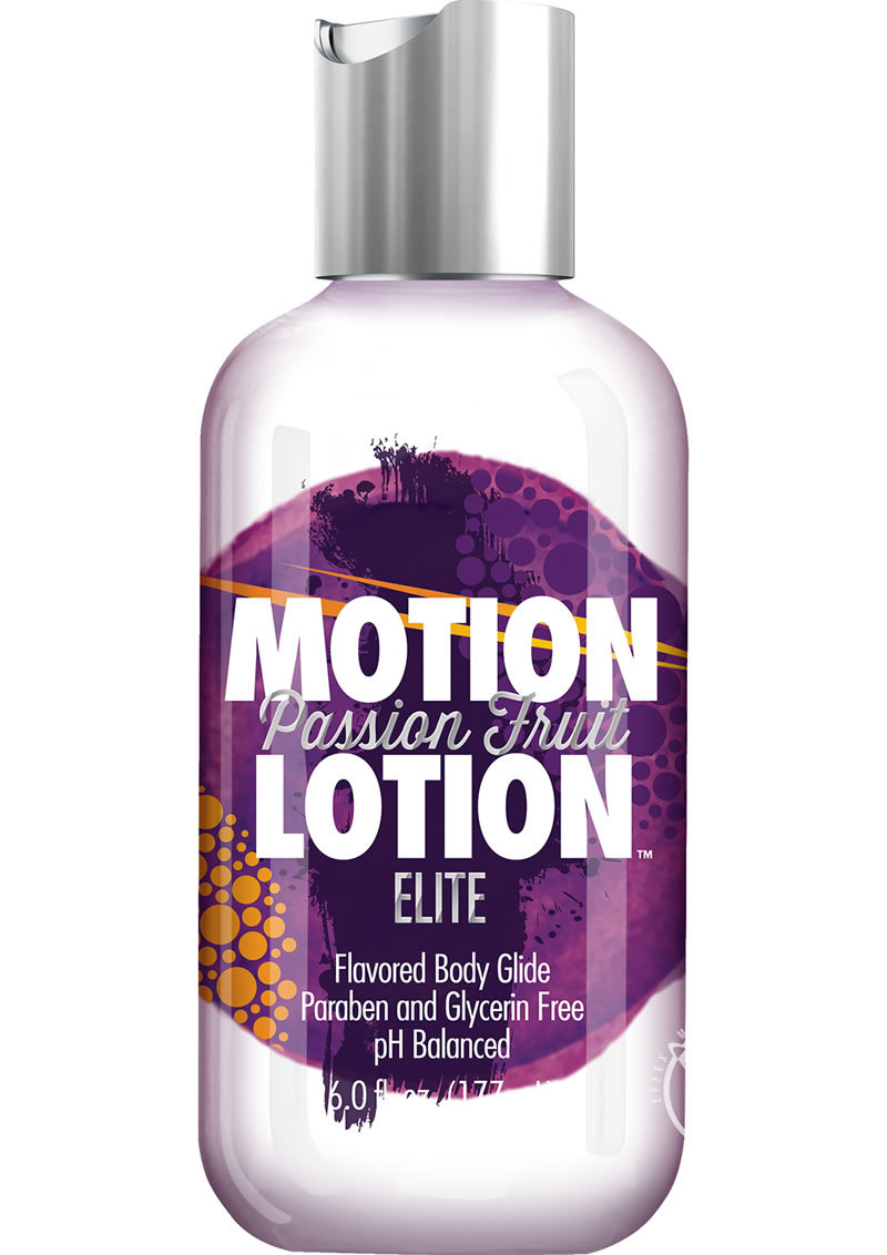 Motion Lotion Elite Waterbased Flavored Body Glide Passion Fruit 6 Ounce Bottle
