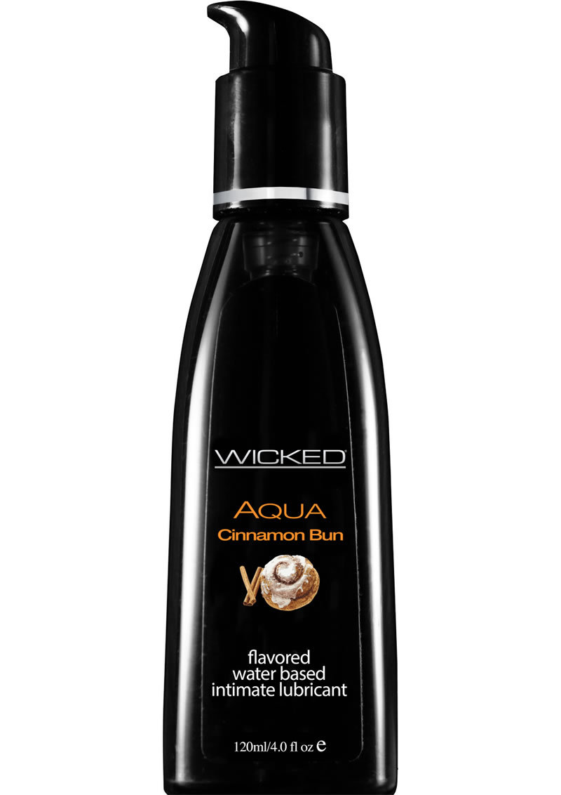 Wicked Aqua Water Based Flavored Lubricant Cinnamon Bun 4 Ounce