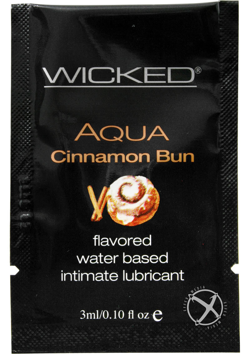Wicked Aqua Water Based Lube Cinnamon Bun Flavored And Scented 0.10fl Oz Foil 144/bag
